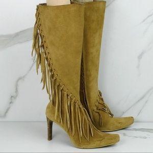MIA Fringe Boho Hippie Suede Knee High Boots 8